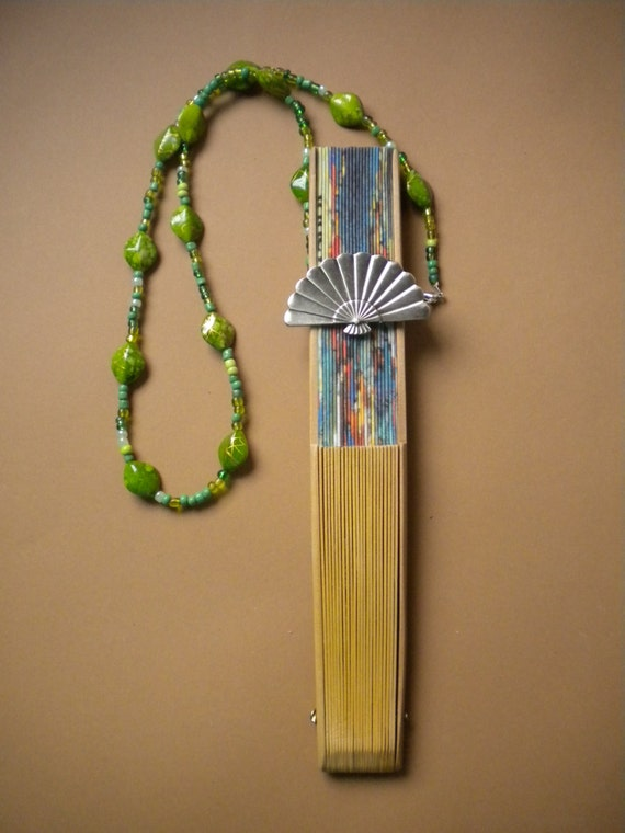 Hand Fan Holder Necklace Chain CHOOSE OPTIONS Strap and Holder Green Beads OOAK