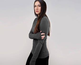 Super Long Sleeve | Boatneck Shirt | Women Close Fit Tops | High Neckline | Ethically made in our USA loft | L415&Co Clothing (#415-214)
