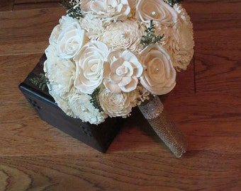 Wedding Bouquet, Sola Bouquet, Cream Sola wood Bouquet, Wood Bouquet, Bridal Bouquet, Sola flowers, Burlap Bouquet, Handmade