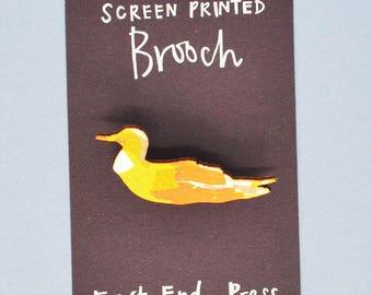 Duck Wooden Screen Printed Brooch - pin badge