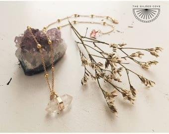 Athena Necklace — double terminated quartz crystal point, gold plated satellite chain, delicate gypsy boho summer bride bridal nashville