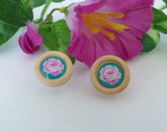 "ROUND WOODEN ""LES ROSES"" EARRINGS"