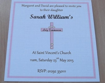 10 x Girls Square Personalised Cross & Hearts First Holy Communion Invitations