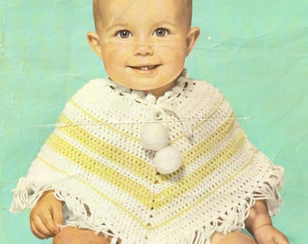 baby's poncho  crochet pattern 2 sizes (6/9 months and 9/12 months)
