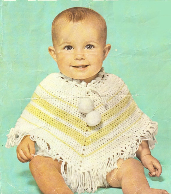 baby\'s poncho crochet pattern 2 sizes (6/9 months and 9/12 months ...