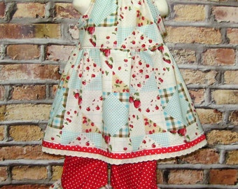 Girl Outfit, Toddler Outfit, Strawberry Girl Dress, Dress and Pant Girl Set,Japanese Cotton fabric