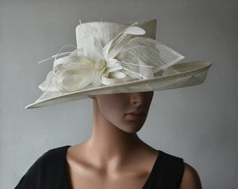 Ivory sinamay hat large dress church hat fascinator with feather flower,for Kentucky derby,wedding party races