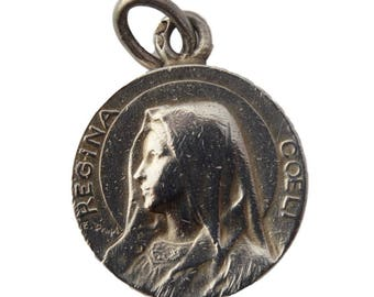 Virgin Mary Portrait - Antique French Sterling Silver Medal Pendant Charm By Dropsy - 19th Century - Religious Jewelry Necklace