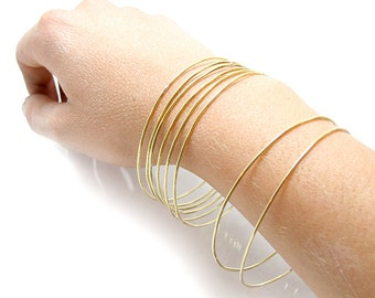 Brass Bangle Set - ONE BANGLE - Gold Bangle - Faux Gold Bracelet - Yellow Brass Bracelet - Hammered Brass Bangle - Stacking Bangle Set