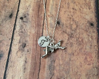 Grasshopper initial necklace - grasshopper jewelry, insect necklace, cricket jewelry, bug necklace, silver grasshopper necklace, bug jewelry