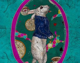 FOLLOW the WHITE RABBIT 8x10 Fine Art Print, White Rabbit Alice in Wonderland, White Rabbit Art Prints, White Rabbit Print, Illustration