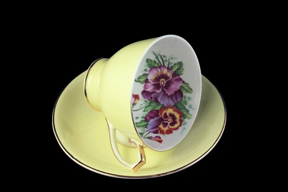 Cup and Saucer, Bone China, Made In England, Yellow, Pansy Floral Pattern, Gold Trim