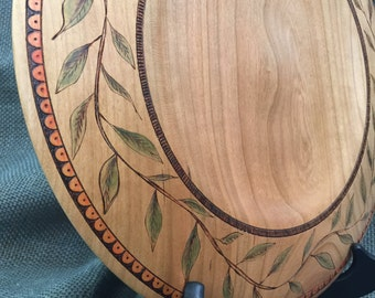 Decorated Cherry Wood Plate