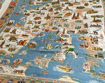 Map tablecloth etsy vintage souvenir map of europe tablecloth gumiabroncs Image collections