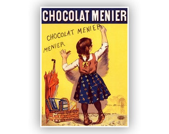 Chocolate Poster, French Chocolate Candy Advertising Poster, Vintage Style Print, Retro Art for the Kitchen Or Bathroom