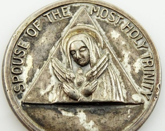 Vintage Sterling Silver Medal Pendant Charm Mary Spouse of the Holy Trinity