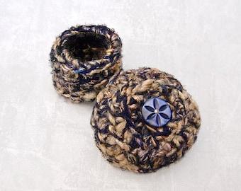 Handmade Silk Basket - Carved Antique Abalone Flower Embellished Silk Basket w/ Lid - Valentine's, Mother's Day, Wedding Anniversary Gift