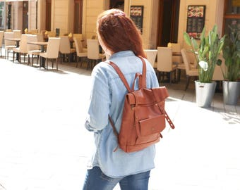 Small leather backpack for Womens.