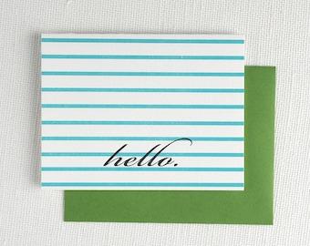 Stripey Hello Note Card