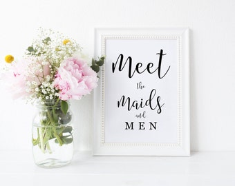 Meet the Maids & Men Sign, Wedding Party Sign, Printable Receiving Line Sign, Maids and Men Wedding Sign, Bridesmaids Groomsmen
