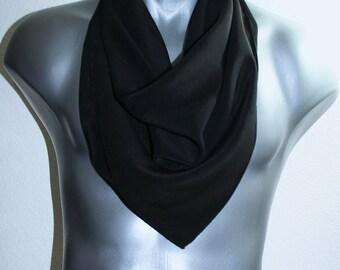Unisex Silk Scarf. Men, Women Hand Painted Scarf. Black Hand Painted Silk Scarf BLACK CHIC, 25x25 square. Valentine Gift. Christmas Gift