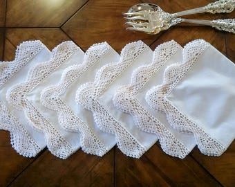 White Antique Serviettes - Set of 6