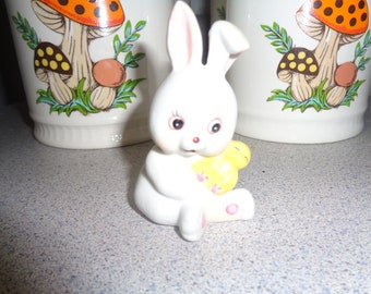 Vintage Easter Bunny Rabbit holding yellow Chick Figurine