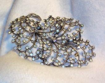 Treasury Featured Elsa Schiaparelli Rhinestone Feather Brooch from the 1950s Haute Antique Designer Jewelry Pin Ornament