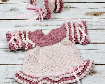 CROCHET PATTERN For Summer Amelia Baby Dress & Bonnet  PDF 142 Digital Download
