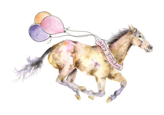 Horse birthday card watercolour horse horse art card for like this item bookmarktalkfo Images
