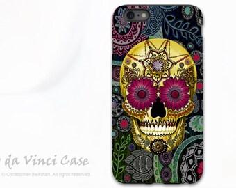 Sugar Skull  iPhone 6 Plus - 6s Plus Case - Colorful Sugar Skull Paisley Garden - Day of the Dead iPhone 6 Plus case - Dual Layer TOUGH Case