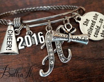 CHEERLEADING Gifts, CHEER, Graduation gift, She believed she chould, Senior gifts, Senior 2018 Graduate, Class of 2018, INITIAL jewelry