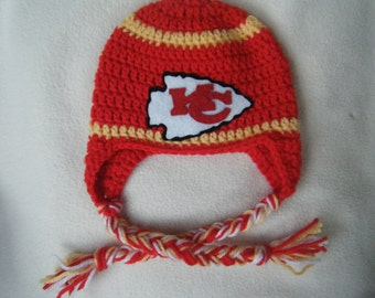 Crocheted Chiefs Inspired Team Colors (Choose your team)  Football Helmet Baby Beanie/hat - Made to Order - Handmade by Me