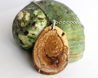 Reclaimed Wood Necklace Wooden Pendant Eco-Friendly Hickory Branch Rustic Handmade Wooden Jewelry by Hendywood