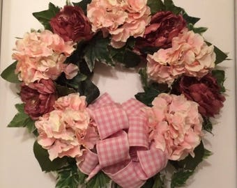 Front Door Wreath,Hydrangea Wreath,Peonies Wreath,Grapevine Wreath,Summer Wreath, Spring Wreath Pink Hydrangeas Wreath,Pink Grapevine Wreath