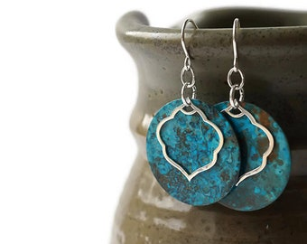 Sterling Silver and Blue Patina Dainty Earrings, Turquoise Earrings, Patina Jewelry, Colorful Earrings