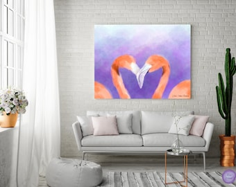 Wall decor | Bedroom decor | Canvas art | Original painting | Wall art print | Living room decor | Gift for her | Flamingo painting