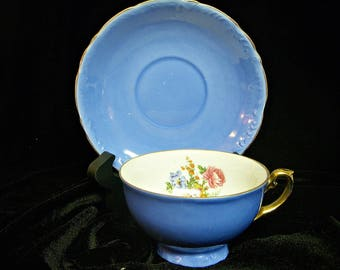 SHABBY BLUE CHINA Footed Teacup and Saucer Set
