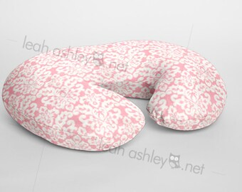 Boppy® Cover, Nursing Pillow Cover - Pink Damask MINKY - BC1