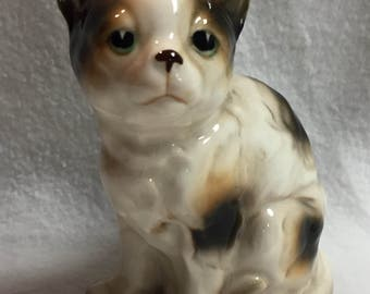 Cream and Dark Brown Kitty Figurine with Green Eyes (#040)
