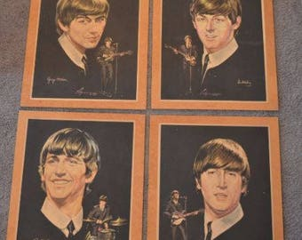 """Four 1964 Beatles Portraits Mounted on a 20.5"""" x 16.5"""" Boards"""