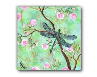 Large Giclée - Canvas Print - Acrylic Painting - Dragonfly - Cherry Blossom Tree - Contemporary Art - by Jasmine Star