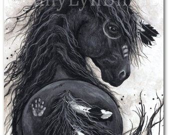 Majestic Horses - Friesian War Paint Native Feathers -  ArT Prints by Bihrle mm45