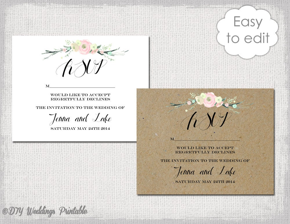RSVP template Rustic Flowers Printable wedding