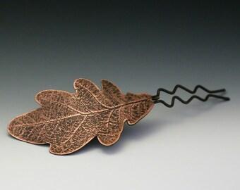 Oak Leaf Hair Comb - etched copper, wedding hair accessories, oak leaf, metal hair comb, leaf hair comb, leaf hair pin, leaf comb, autumn