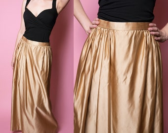 1940's - 1950's Gold Pure Silk and Satin Maxi Skirt