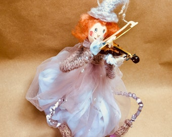 Aromatic doll Christmas melody/Girl with a violin/ art doll/OOAK doll