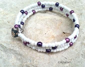 Women bracelet purple and snow multi-row fine bird - Bohemian indie collection charm