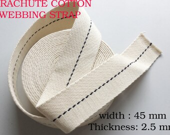 WW1 Cotton parachute Harness Webbing Strap 45 mm NATURAL Canvas Webbing bunting  Upholstery Trimming ties strap Tapes - BLACK FLECK