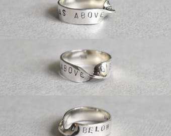 As Above, So Below Mobius Strip Ring. Sterling Silver.